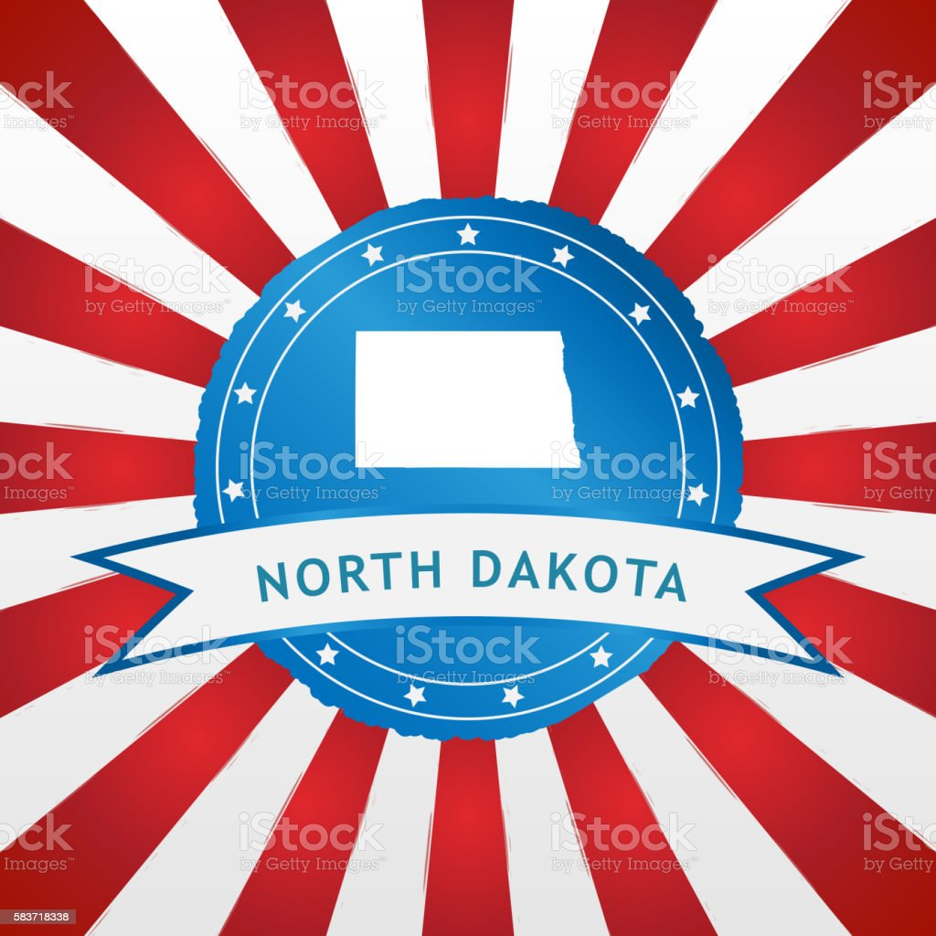Light blue North Dakota badge retro red white striped background stock photo