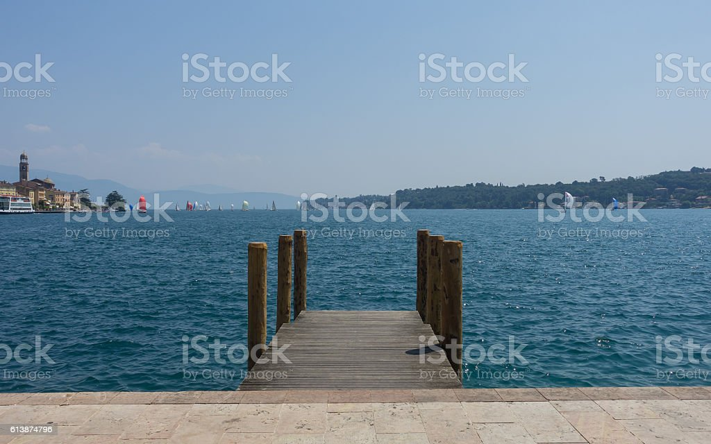Light blue of Garda Lake stock photo