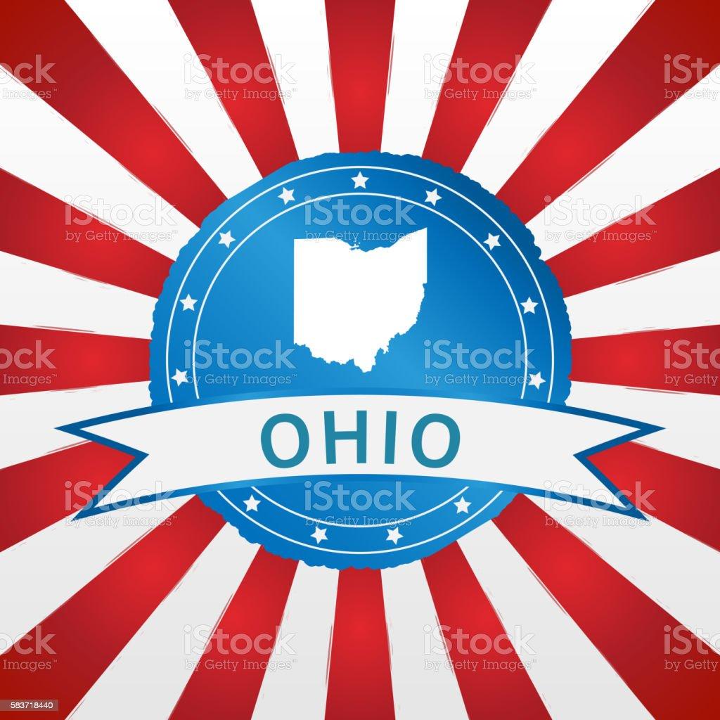 Light blue Ohio badge retro red white striped background stock photo