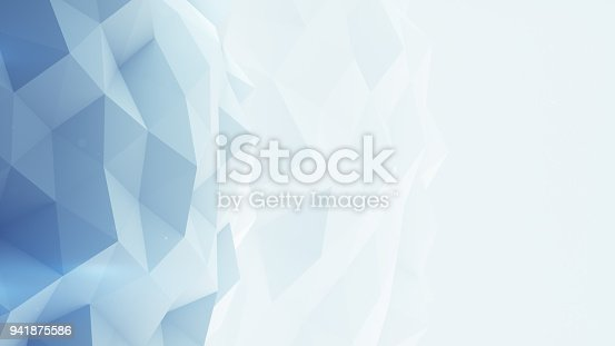 istock Light blue polygonal background 3D render 941875586