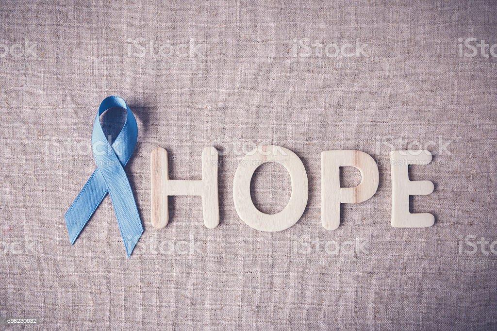 Light blue, sky blue ribbons toning background, Prostate Cancer foto royalty-free