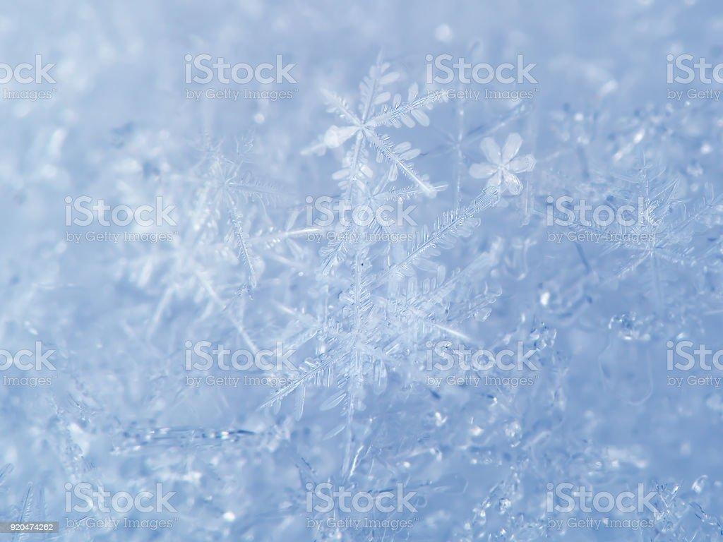 Light blue snow background with white snowflakes stock photo