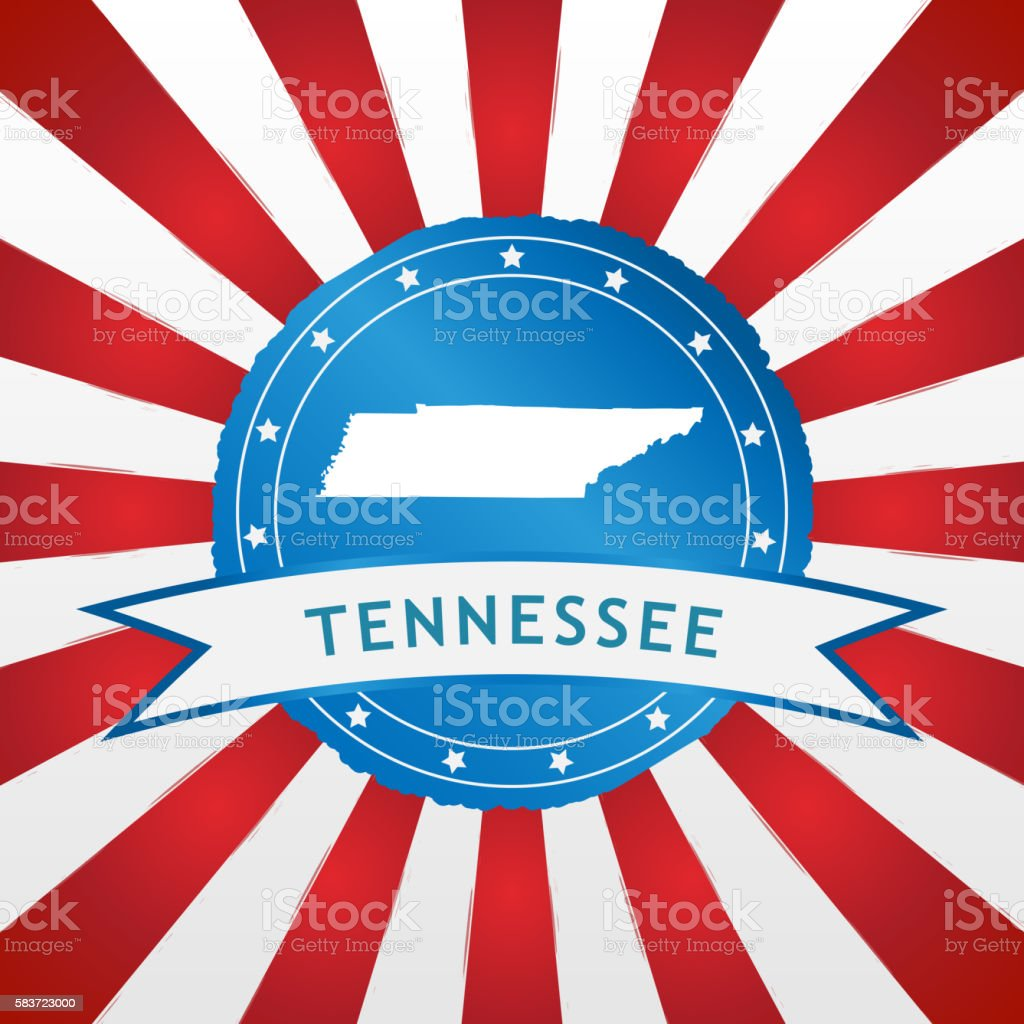 Light blue Tennessee badge retro red white striped background stock photo