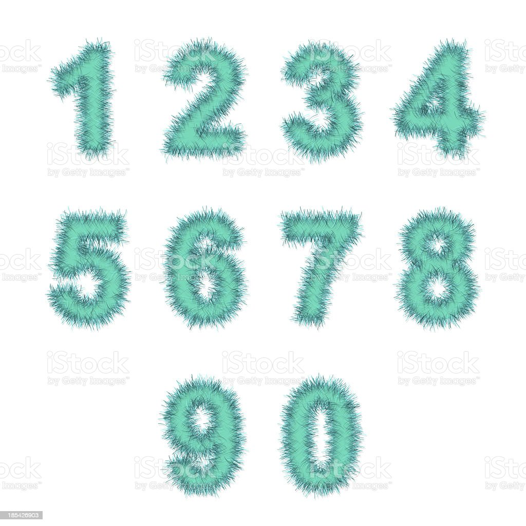 light blue tinsel digits on white royalty-free stock photo