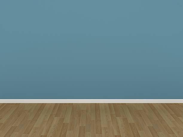 leichte blaue wand und holzboden in einem leeren raum - hellblaues zimmer stock-fotos und bilder