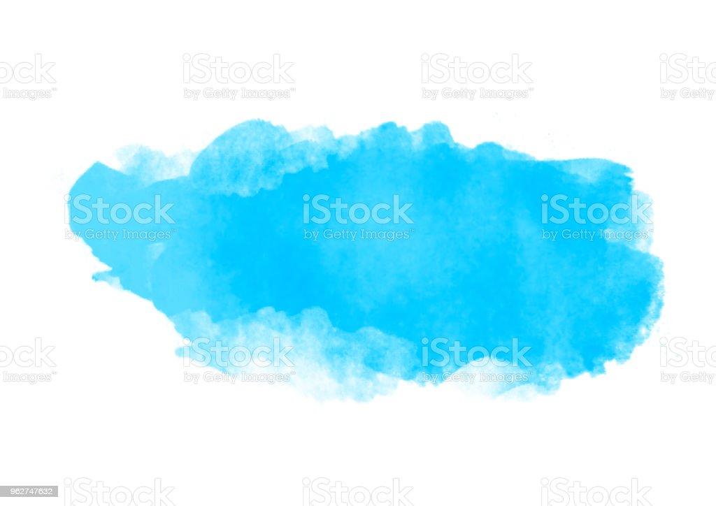 Luz azul água cor patches escova gráfica traços efeito elemento de design para o fundo - Foto de stock de Arte royalty-free