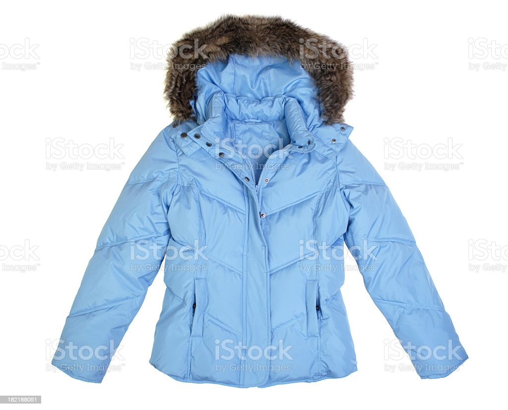 A light blue winter jacket with hood stock photo