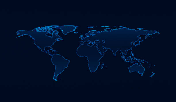 Light blue world map on dark blue background, Elements of this image furnished by NASA stock photo