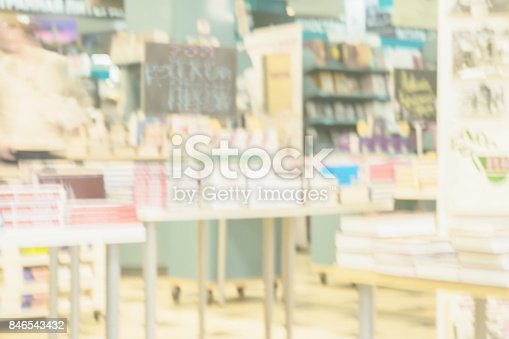 istock Light blurry backdrop of abstract books, textbooks or fiction in rows lying on tables, onshelves in library, urban bookshop. Education, school, study concept 846543432