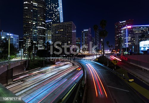 Traffic on the freeway around Downtown Los Angeles at night.