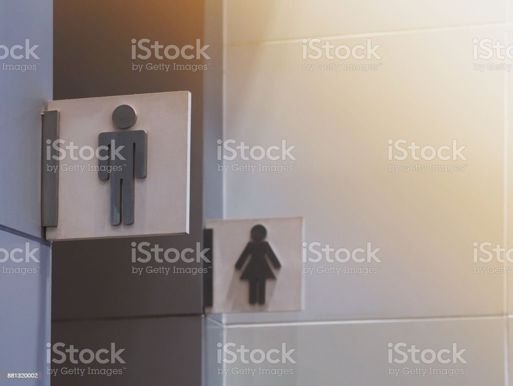 Light box of public restroom sign stock photo