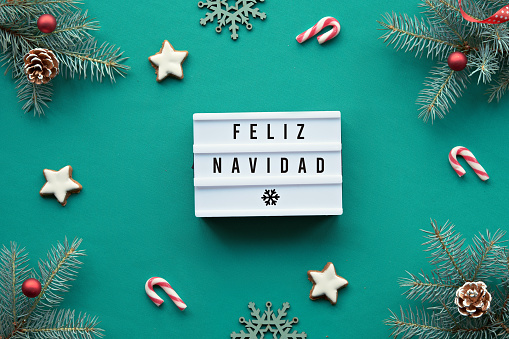 Light box with text Feliz Navidad - Merry Christmas in Spanish language. Xmas background, top view on fir twigs decorated with red glass baubles, toys, decorations on vibrant turquoise textile