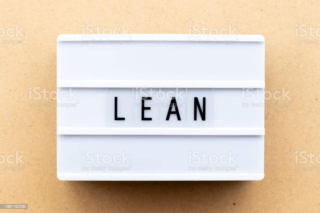 Light box with word lean on wood background stock photo