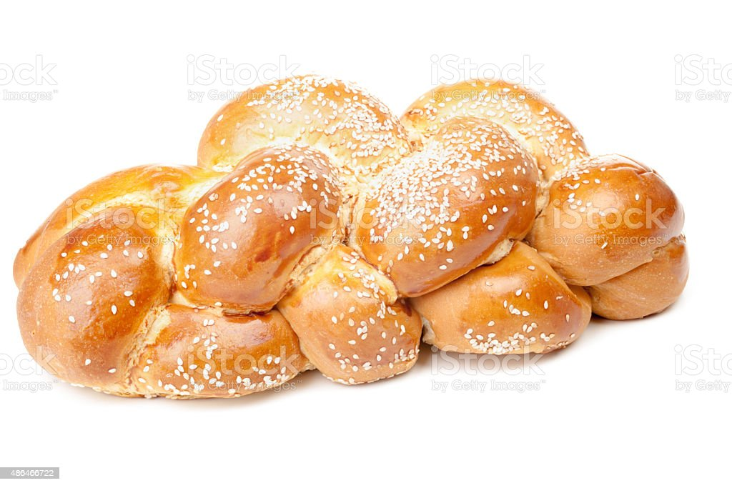 Light braided challah with seeds stock photo