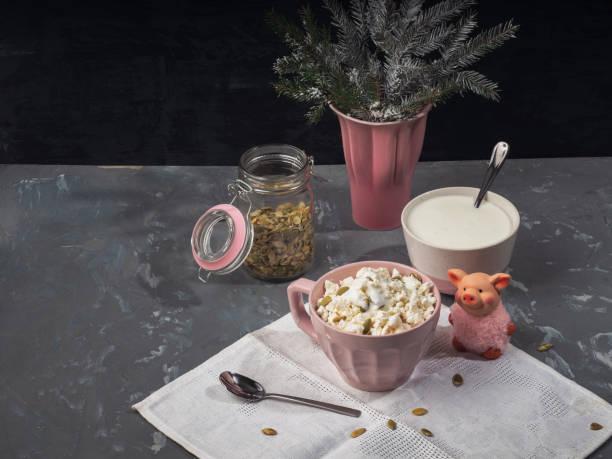 leichtes frühstück mit quark und saurer sahne in einer rosa schale, kürbiskerne, tannenzweigen, auf einem grauen hintergrund - abnehmen leicht gemacht stock-fotos und bilder