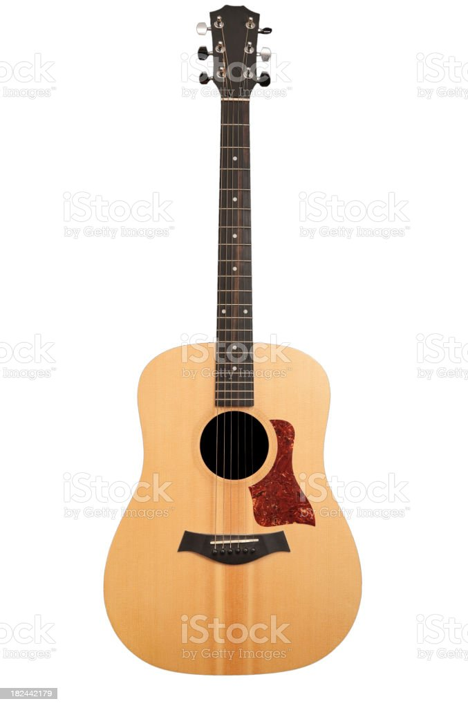 Light brown acoustic guitar on white background stock photo