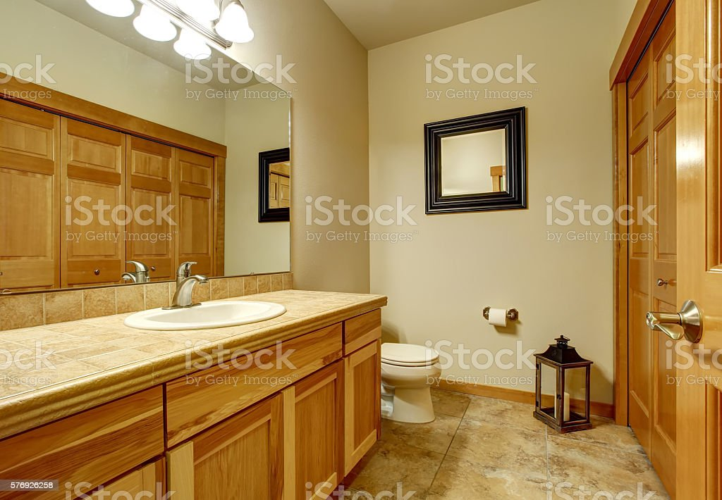 Light Brown Bathroom With Marble Tile Floor And Beige Walls Stock Photo Download Image Now Istock