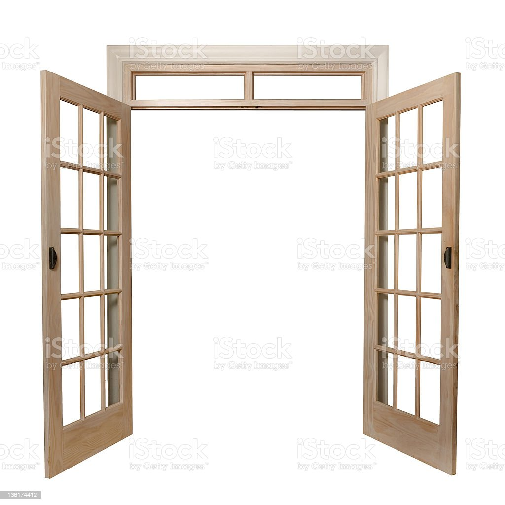 Light brown French doors opening up to a white background stock photo