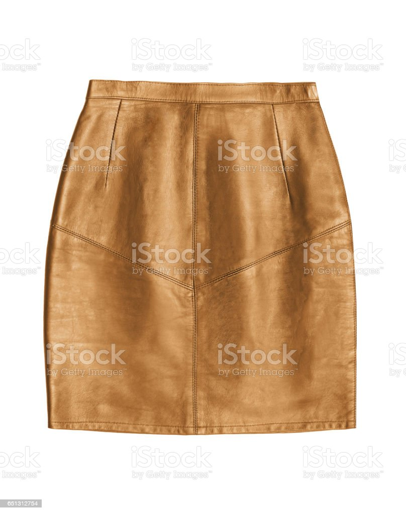 light brown leather pencil skirt, isolated on white background stock photo