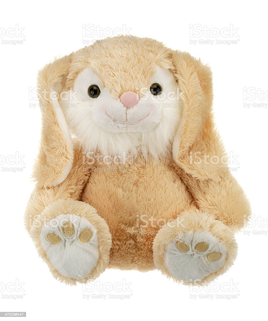 Light brown rabbit teddy bear isolated on white background stock photo