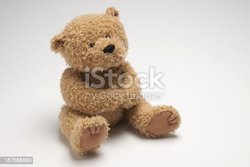 Detailed image of a stuffed bear. Image has copy space for your text. Useful for any themes dealing with children.