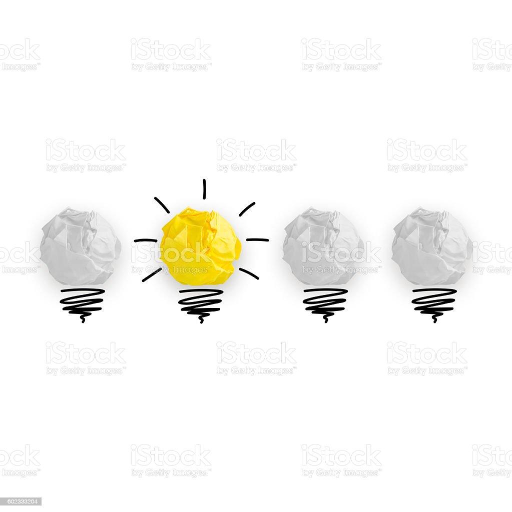 Light bub the big idea concept, Innovative lamp stock photo