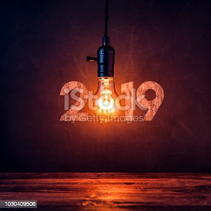 istock Light bulb 2019 on blackboard - Christmas Vintage New Year Grunge 1030409506