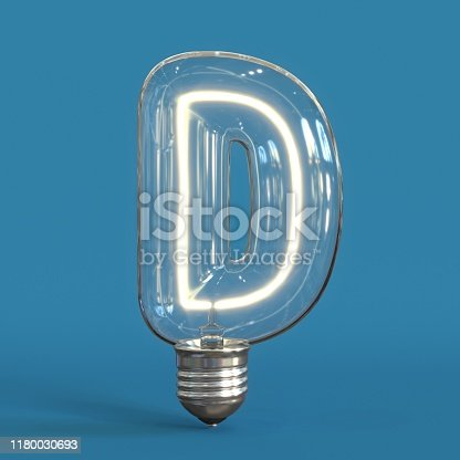 184385936 istock photo Light bulb 3d font 3d rendering letter D 1180030693