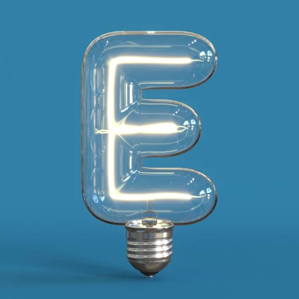 Light bulb 3d font 3d rendering letter E Light bulb 3d font 3d rendering letter E    isolated illustration letter e stock pictures, royalty-free photos & images