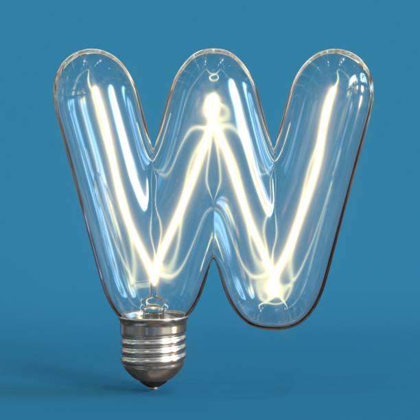 Light bulb 3d font 3d rendering letter W stock photo