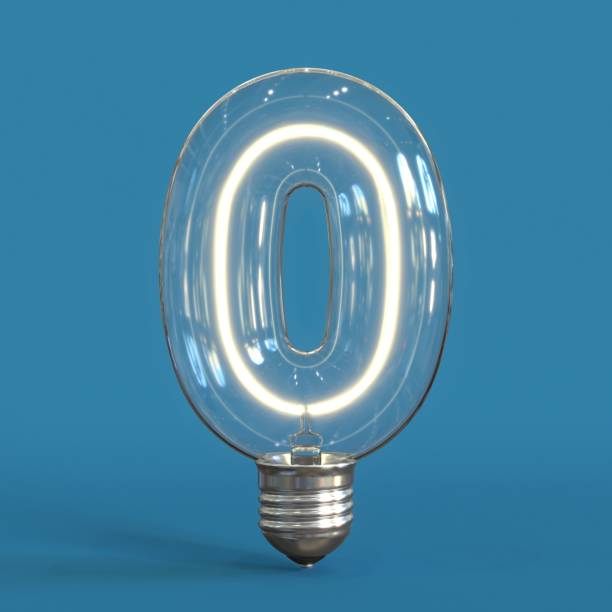 Light bulb 3d font 3d rendering number 0 stock photo