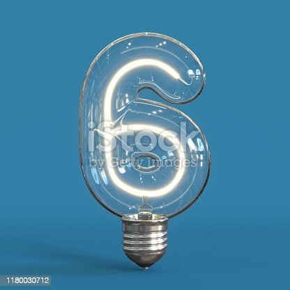 Light bulb 3d font 3d rendering number 6  isolated illustration