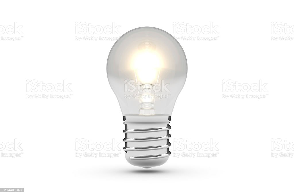 Light Bulb 3D Model (White Background) stock photo