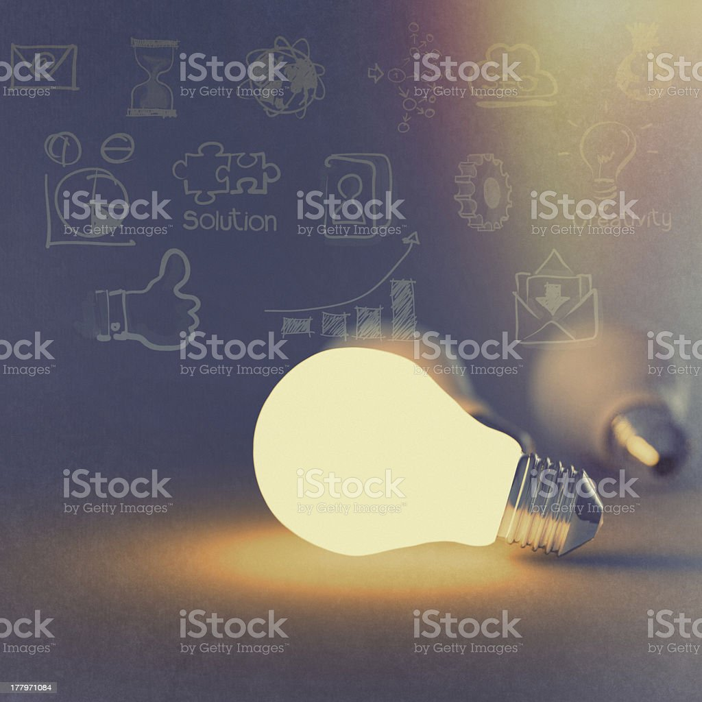 light bulb 3d on business strategy background royalty-free stock photo
