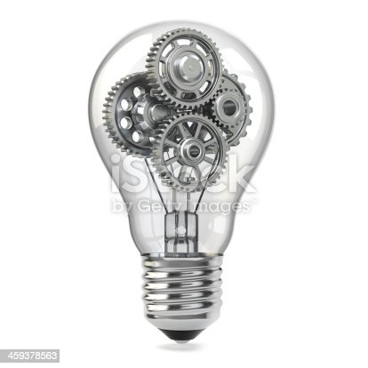 istock Light bulb and gears. Perpetuum mobile idea concept. 459378563