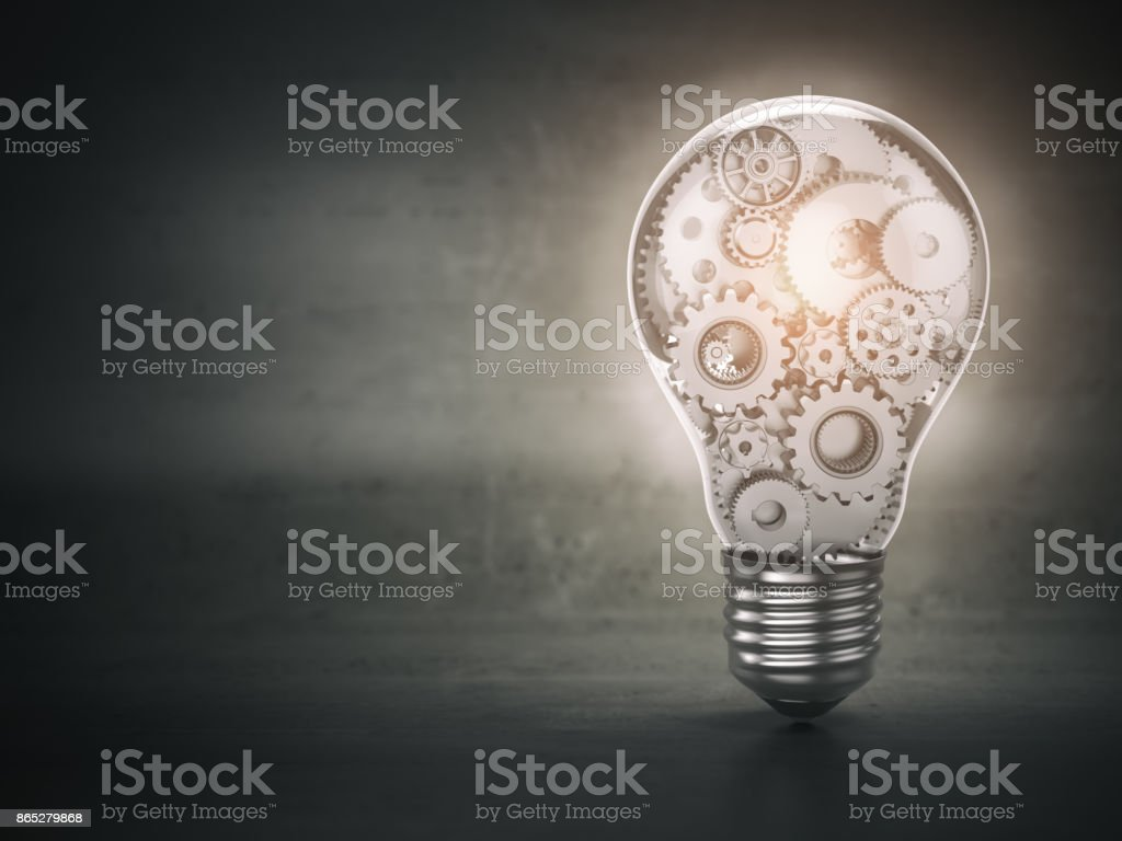 Light  bulb and gears. Perpetuum mobile. Innovation, creativity and idea concept background. stock photo