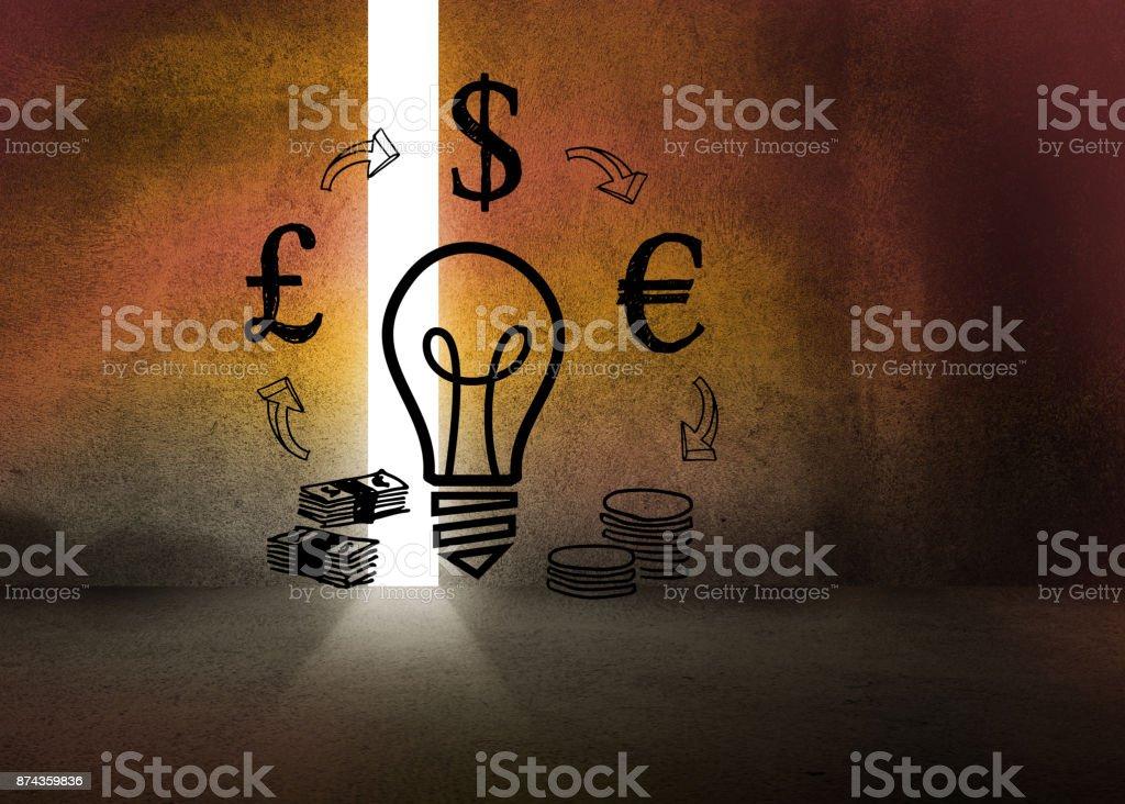 Light bulb and money in dark room stock photo