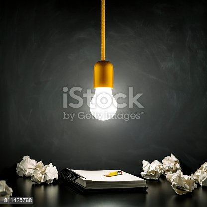 istock Light bulb and notepad on Blackboard - Vintage Learning Grunge 811425768