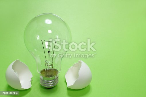 637797672istockphoto light bulb and the egg shell close up in the green 503616932