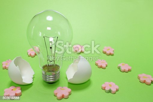 637797672istockphoto light bulb and the egg shell in the spring mood 503616888