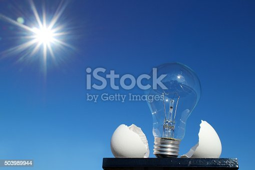 637797672istockphoto light bulb and the egg shell in the sunshine 503989944