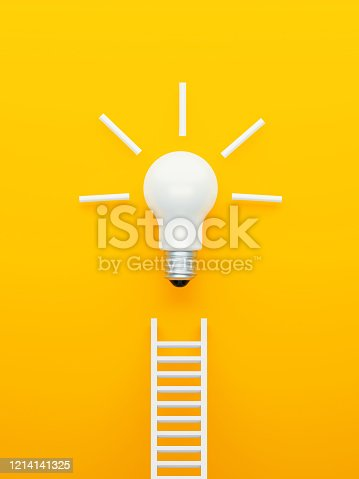 Light bulb white ladder on blue background. Vertical composition with copy space. Creativity and innovation concept.
