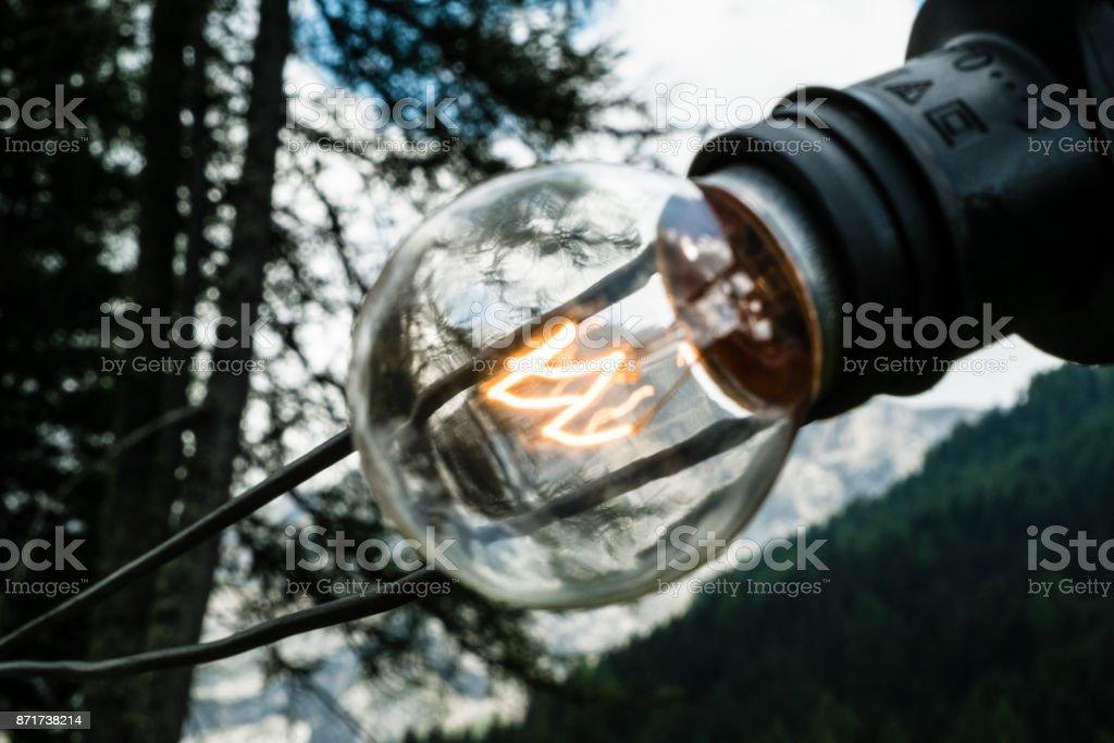 Light bulb at Festa Ta Mont, traditional Ladino festival stock photo
