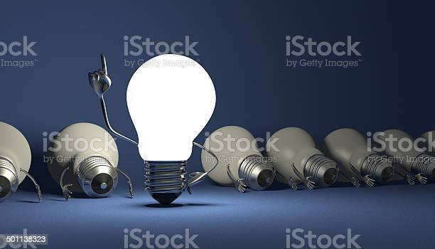 Light Bulb Character Aha Moment On Blue Stock Photo - Download Image Now