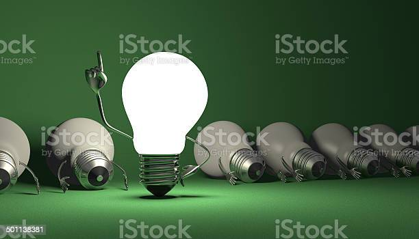 Light Bulb Character Aha Moment On Green Stock Photo - Download Image Now