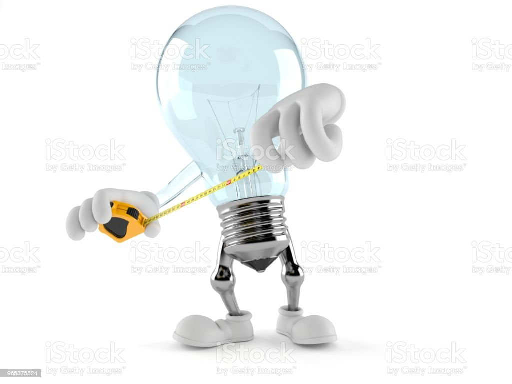 Light bulb character holding measuring tape royalty-free stock photo