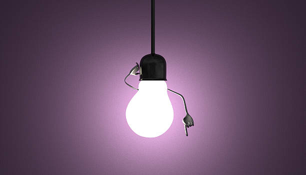 Light bulb character in socket, moment of insight on violet Glowing light bulb character in lamp socket on wire in moment of insight on violet textured background aha stock pictures, royalty-free photos & images