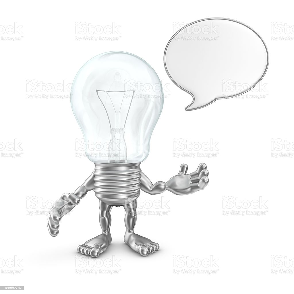 light bulb character with speech bubble royalty-free stock photo