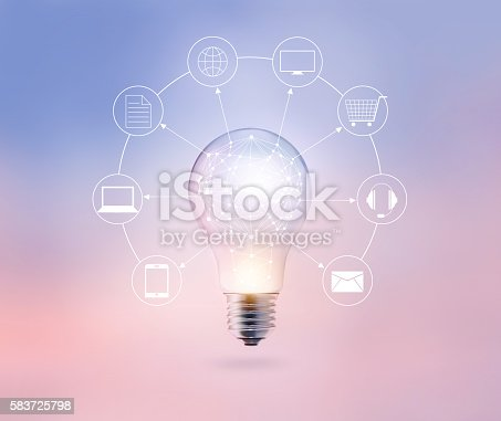 613550706 istock photo Light bulb circle global and icon customer network connection 583725798
