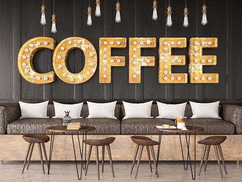 Light Bulb Coffee Shop Sign on Black Brick Wall